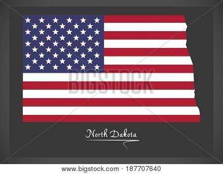 North Dakota Map With American National Flag Illustration