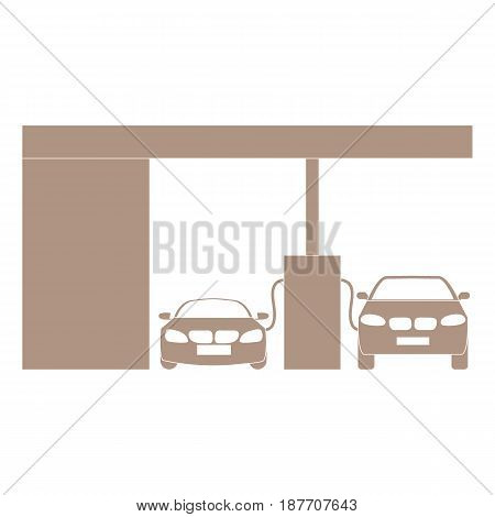 Stylized Icon Of The Petrol Station With Two Cars