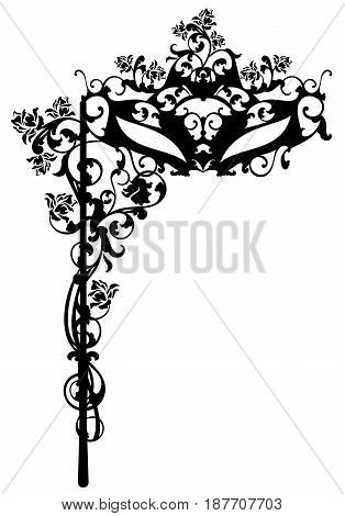 black carnival mask with rose flowers vector silhouette design