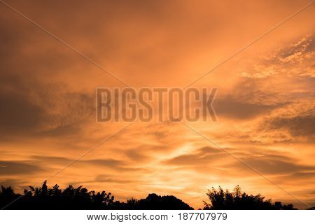 View of Sillhouette landscape on a sunset