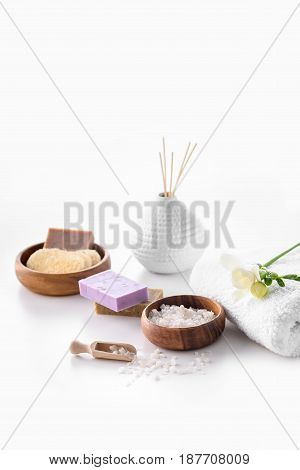 Handmade Soap, Sea Salt And Towel Isolated On White, Spa Treatment Concept