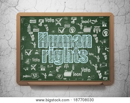 Political concept: Chalk Blue text Human Rights on School board background with  Hand Drawn Politics Icons, 3D Rendering