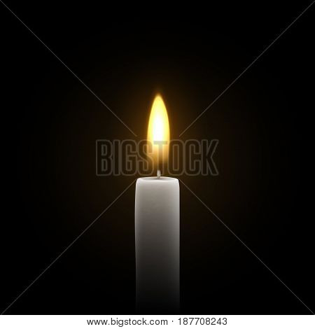 Candles burn with fire realistic. Isolated on transparent background. Element for design decor, vector illustration