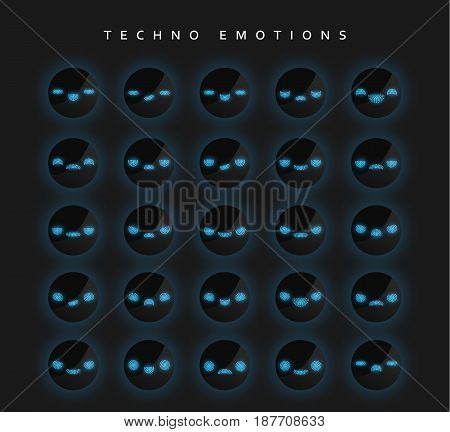Set techno emotions to create characters. Emoji for Web.