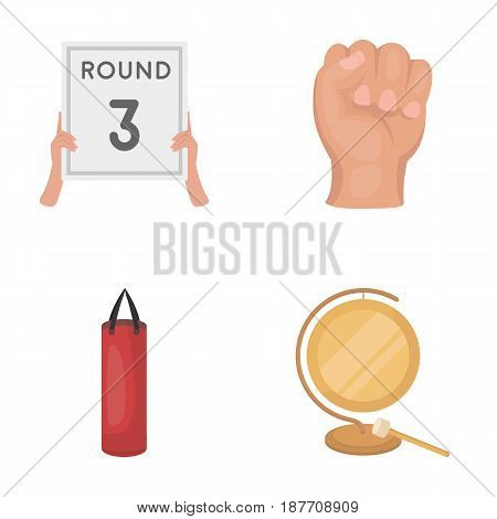 Boxing, sport, round, hand .Boxing set collection icons in cartoon style vector symbol stock illustration .