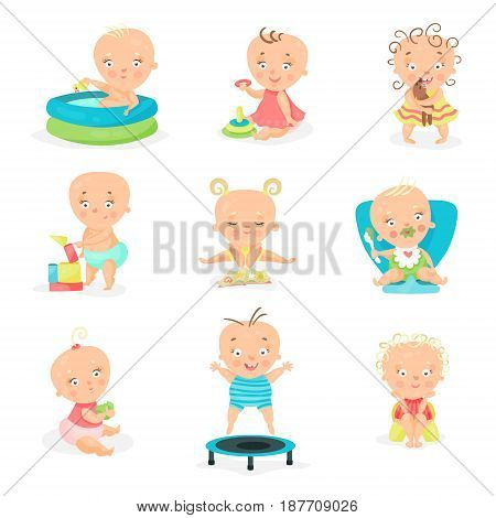 Cute little babies and their daily routine set. Happy smiling little boys and girls vector illustrations isolated on a white background