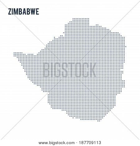 Vector Dotted Map Of Zimbabwe Isolated On White Background .