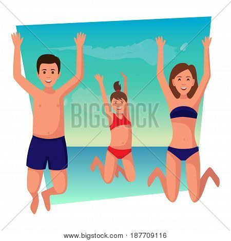 Happy family summer vacation. Family having fun at the beach.