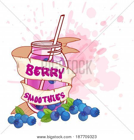 Cocktail jar with a blueberry smoothie. Vector illustration on a white background with splashes of juice.