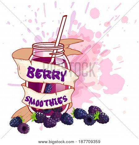 Cocktail jar with a blackberry smoothie. Vector illustration on a white background with splashes of juice.