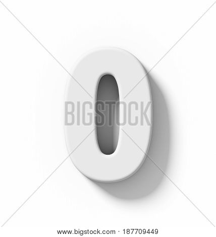 Number 0 3D White Isolated On White With Shadow - Orthogonal Projection