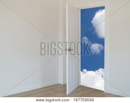 open door with cloudy sky background. concept of business target.