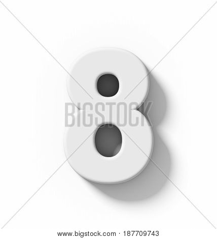 Number 8 3D White Isolated On White With Shadow - Orthogonal Projection