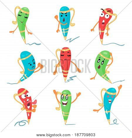 Cute cartoon color pen characters facial expressions, emotions and hand gestures vector illustrations isolated on a white background