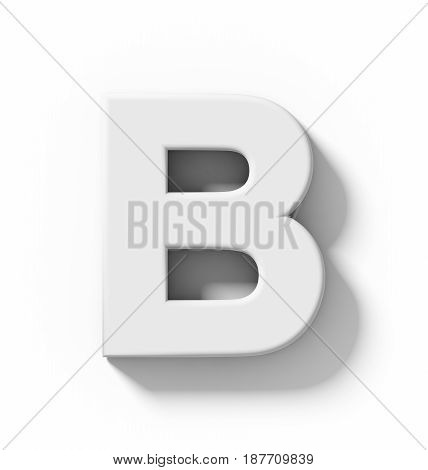 Letter B 3D White Isolated On White With Shadow - Orthogonal Projection