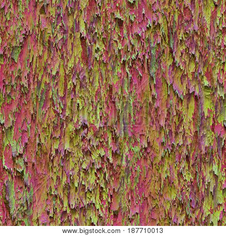 Seamless texture hanging down worn-out ripped rags colorful cloth or paper. Pattern of rustic fabric material