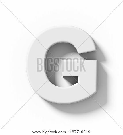 Letter G 3D White Isolated On White With Shadow - Orthogonal Projection