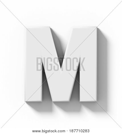 Letter M 3D White Isolated On White With Shadow - Orthogonal Projection