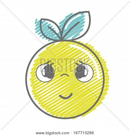 kawaii nice shy orange fruit, vector illustration
