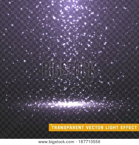 Glowing glitter light effects isolated realistic. Christmas decoration design element. Sunlight lens flare. Shining elements and stars. Lilac texture. Transparent vector particles background.