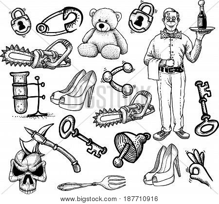 Cartoon characters seamless pattern. Pattern is included in file palette.
