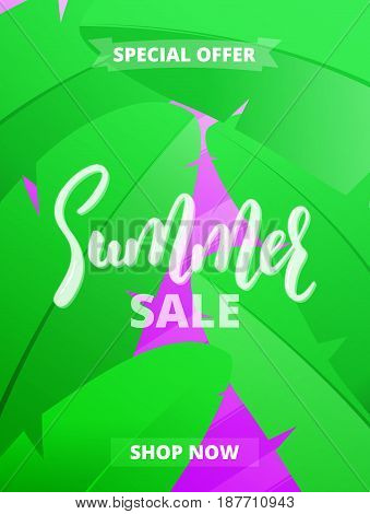 Summer sale. Design layout for banner, advertisement, card, poster etc. Background with trendy stripes, banana leaves and gradient background