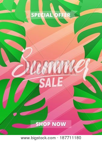 Summer sale. Design layout for banner, advertisement, card, poster etc. Background with trendy stripes, monstera leaves and gradient background
