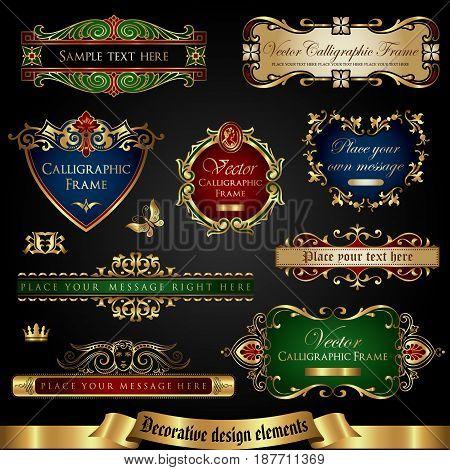 Gold-framed decorative design elements - vector set