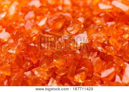 Orange Citrine gemstones background. Bright backdrop of natural jewels, close up.