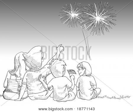 atividade familiar assistindo os fogos de artifício, ilustração vetorial