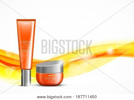 Skin moisturizer cosmetic design template with orange realistic packages on wavy soft bright dynamic smooth lines background. Vector illustration