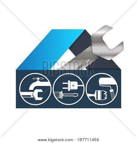 House repair sign for business vector technical