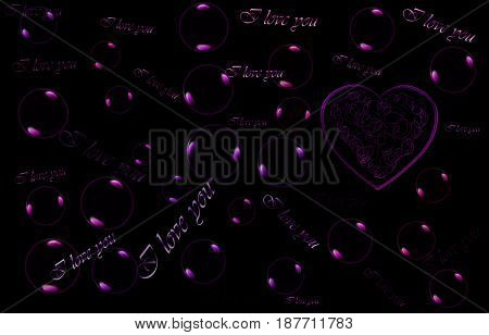 The black background with soap bubbles and hearts. The words on the backdrop of love and I love you. The pink hearts.