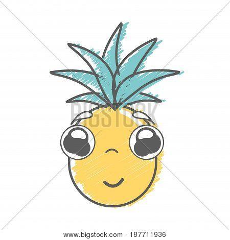 kawaii cute shy pineapple vegetable, vector illustration