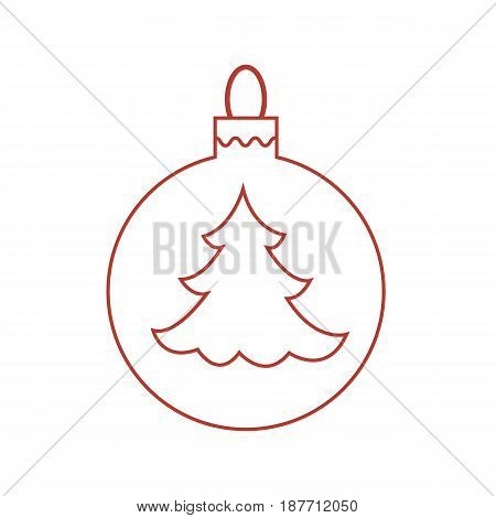Vector Icon Christmas Ball With Silhouette Of Christmas Tree.