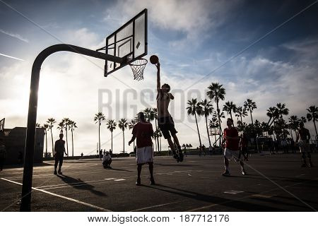 LOS ANGELES, USA - October 22 2017: Public basketball games at Venice Beach Recreation Center in Los Angeles, California, USA