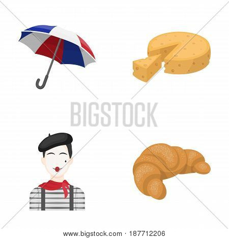 Umbrella, traditional, cheese, mime .France country set collection icons in cartoon style vector symbol stock illustration .