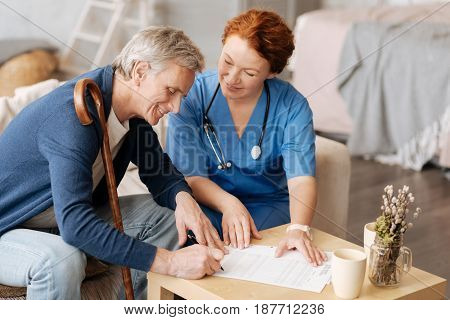 Legal aspects. Feeble injured senior gentleman wanting a medical worker providing him services at home and hiring her for a period of time