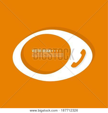 Handset  banner blank template.  Phone sign icon. Empty vector form. information, text box, textbox on orange background. Speech Bubbles.