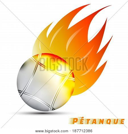 Boules with red orange yellow tone fire in the white background. sport ball logo design. petanque logo. pantangue is original name of boules. sport of France. vector. illustration. graphic design.