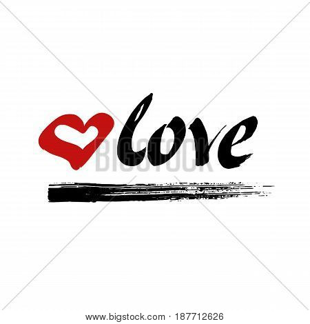 Love vector. Hand drawn ink lettering. Red heart and black brush stroke. Hand drawn design elements.
