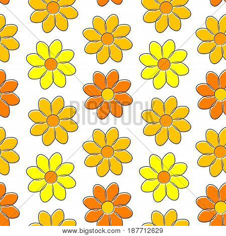 Seamless pattern with yellow camomiles, on a white background