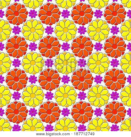 Seamless texture with yellow and red camomiles