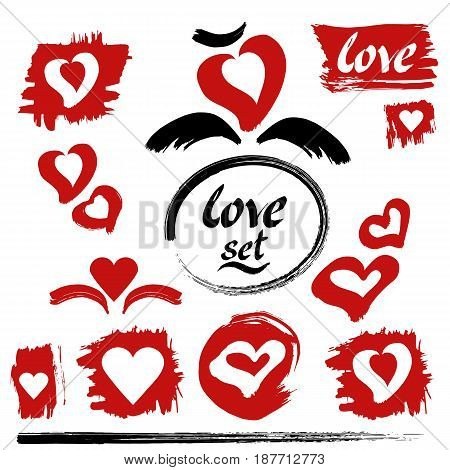 Hearts vector. Love set. Hand drawn ink lettering and calligraphy strokes. Red hearts, brush strokes and blobs. Hand drawn design elements.