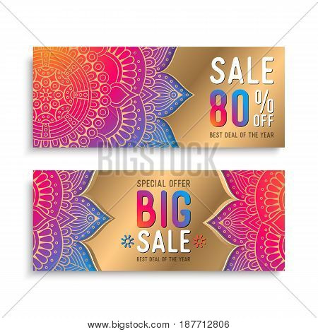 Business Card. Vintage decorative elements. Ornamental floral business cards, oriental pattern, vector illustration.