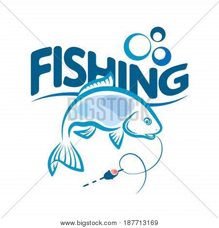 Silhouettes of fish and float for fishing