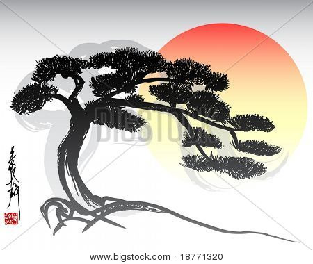 illustration of oriental bonsai tree