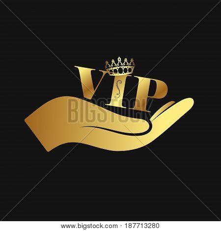 Vip gold symbol in hand vector illustration