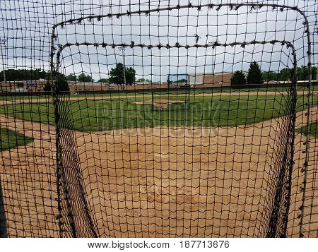 baseball diamond with safety nets for training