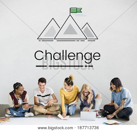 Group of people setting goals target with mountain graphic